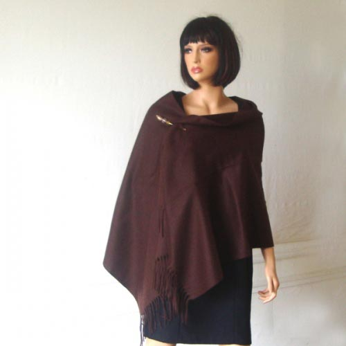 Shawl : Chocolate, 100 % cashmere