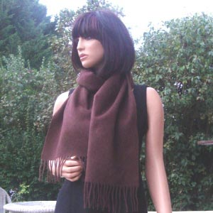 Chocolate woolen and cashmere scarf