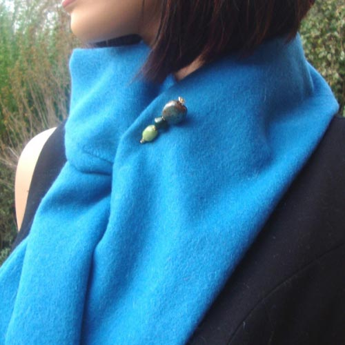 Duck blue woolen and cashmere scarf