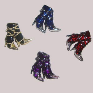 Boots brooch with rhinestones and enamel