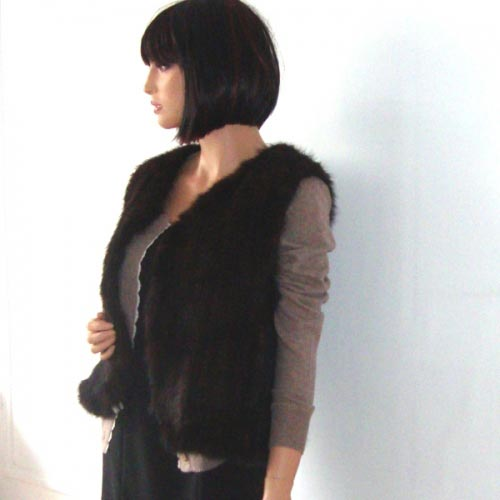 Brown mink jacket without sleeves