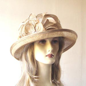 Small light brown wedding hat