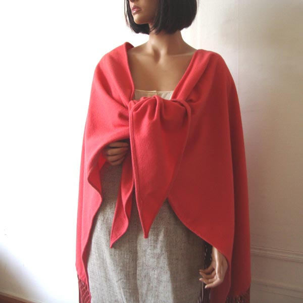 Coral Dior shawl, cashmere and leather