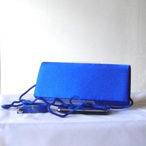 Evening royal blue satin clutch