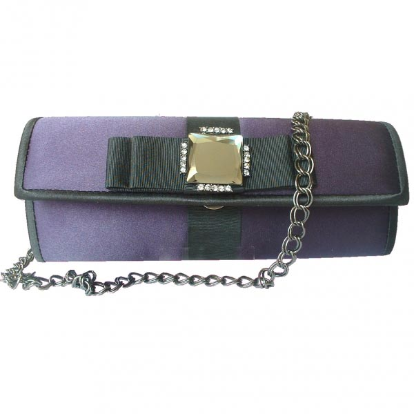 Lovely evening clutch - bi-coloured with a  rhinestone cabochon  surrounded by multiple small rhinestones