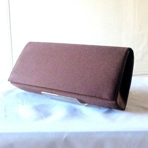Dark brown evening satin clutch