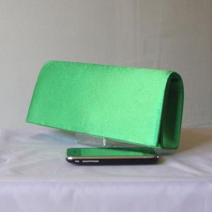Long classical grass green satin evening bag