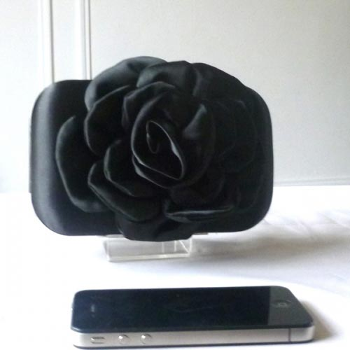 Black satin clutch for weddings, evenings or New year's eve