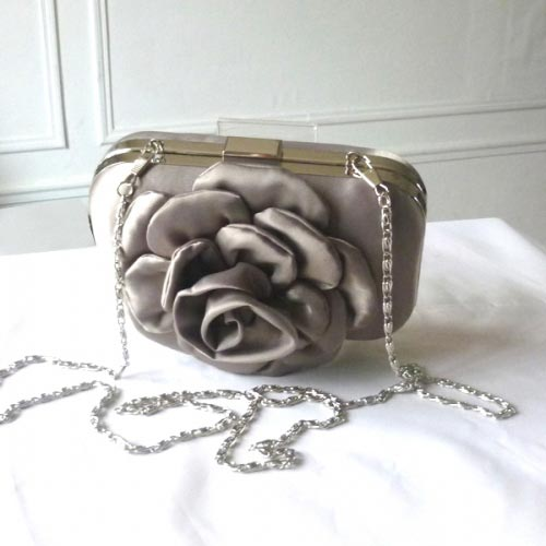 Little evening clutch - light brown satin