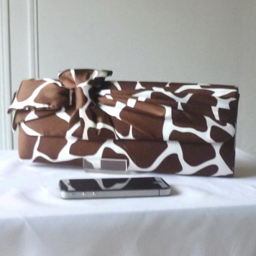 Wedding, evening bag ivory with brown jungle pattern