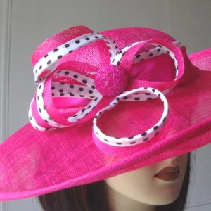 Wide-brimmed sinamay wedding hat - red or fuchsia