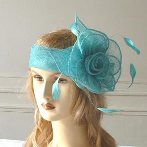 Sinamay headband with flowers and feathers!