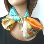Silk foulard, square with bridles and harness - main colour : turquoise