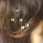 5 hair pins with round rhinestones - 7 colours!