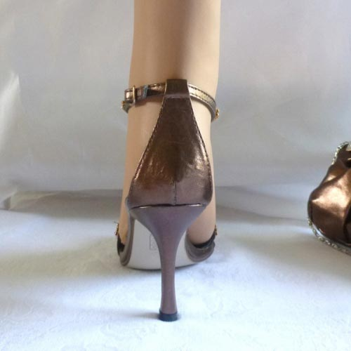Bronze evening shoes with rhinestones