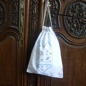 Embroidered laundry bag