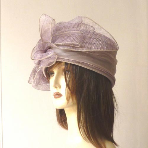 Wedding hat - Toque - lilac sinamay and satin