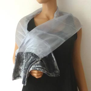 Silk mousseline and velvet scarf
