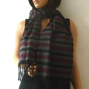 Grey, black and bordeaux cashmere and wool scarf