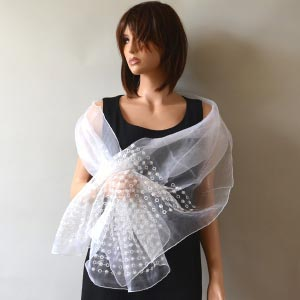 Silk organza and pearls ivory wedding stole