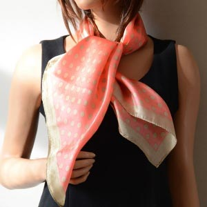 Silk foulard - coral pink with golde beige dots