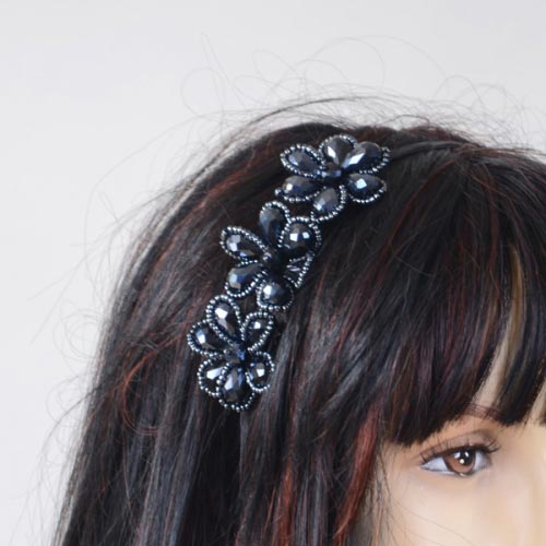Headband crystal and pearls - navy, black or amber