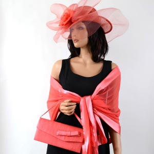 Wedding coral pink asymetric hat