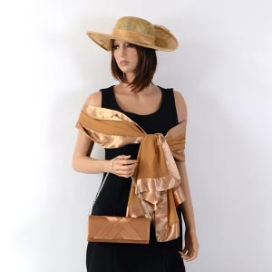 Golden brown matching accessories for wedding, evening, cocktail...