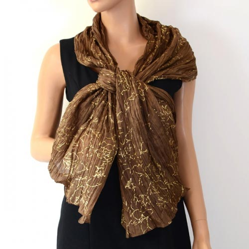 Pure silk stole with golden patterns - 10 colours