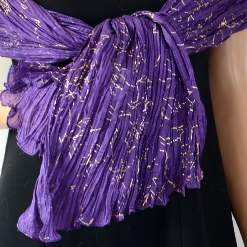 Violet and gold silk stole