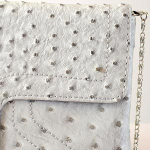 Flat evening, wedding clutch simili ostrich skin - 4 colours (grey, camel/beige, red and black)