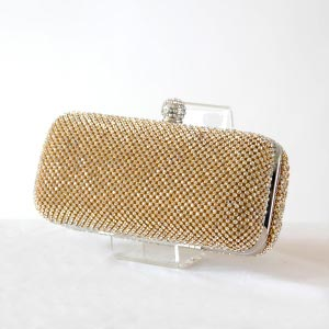 Very chic evening clutch - gold with rhinestones