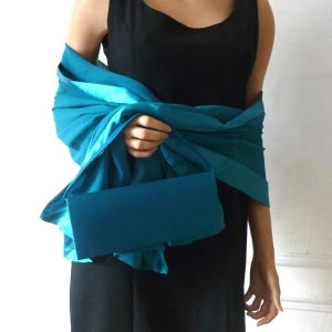 Duck/peacock/dark turquoise stole/shawl silk and satin