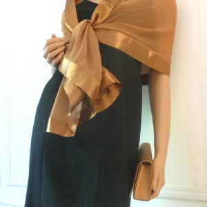 Golden brown stole/shawl silk and satin