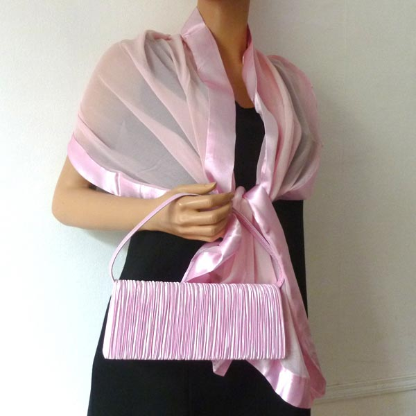 Light pink stole - silk mousseline and satin