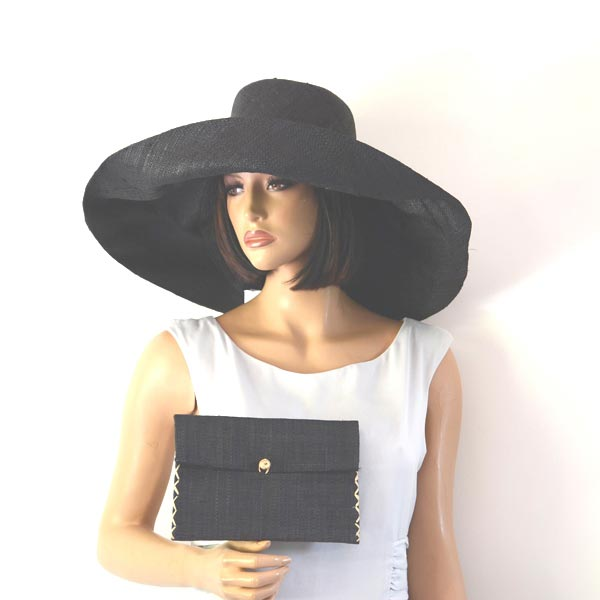 Matching giant sun/wedding hat with clutch : 3 colours (fuchsia out of stock!