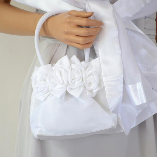 """Matching white stole and """"aumoniere"""""""