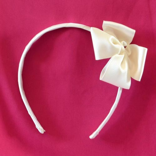 White or ivory gros grain headband for girls