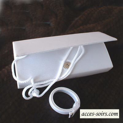 Long classic wedding, evening white satin clutch