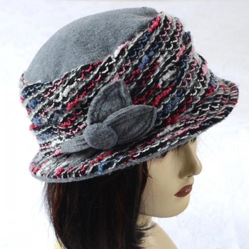 Winter grey hat with flower