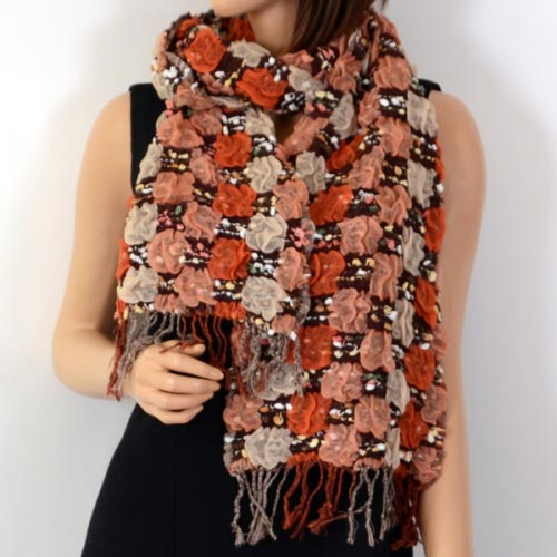 Large scarf polyester and viscose