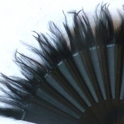 Olivia Oberlin black shantung and black feathers fan