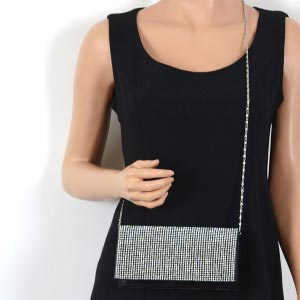 "Evening bag ""Adriana"" - satin with rhinestones all over - black - silver out of stock"