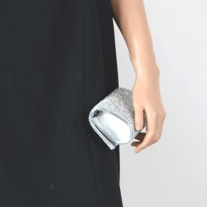 Lovely evening clutch with rhinestones, gold or silver