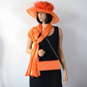 Orange polyester wedding hat