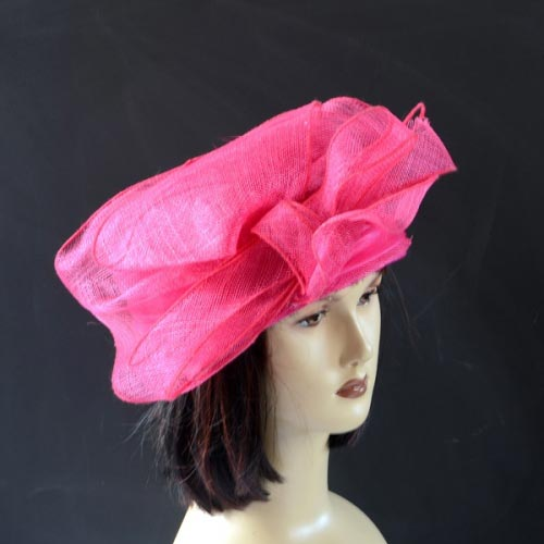 Fuchsia sinamay wedding hat