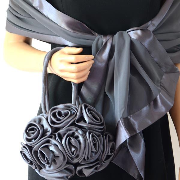 Duo satin ball-shaped purse and stole : 16 COLOURS!