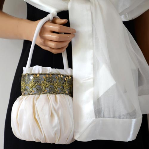 White matching wedding stole and bag Indian style