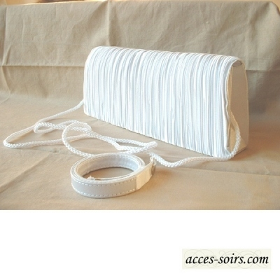 Smart and classic the long evening clutch - white pleated satin