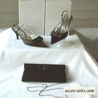Black satin evening shoes with bow tie and unostentatious rhinestones